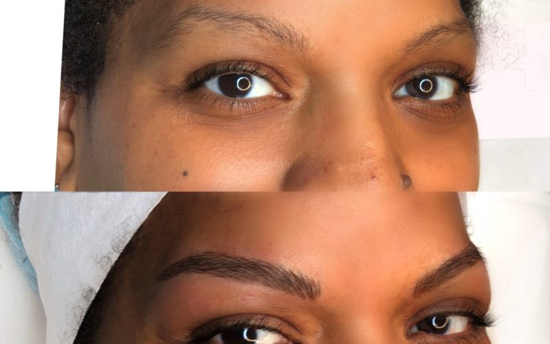 microblading before after dark skin